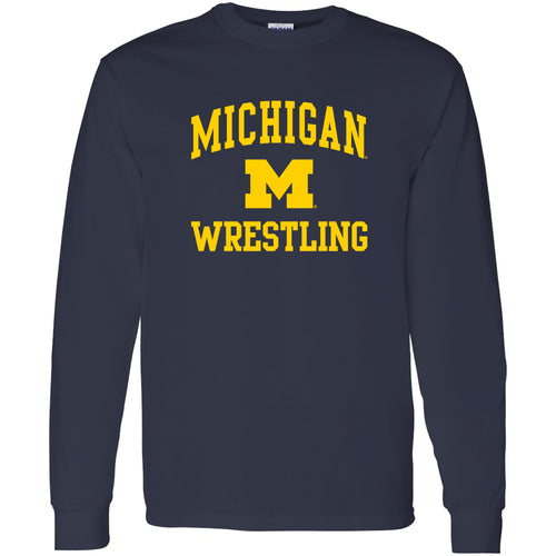 University of Michigan Wolverines Arch Logo Wrestling Long Sleeve - Navy