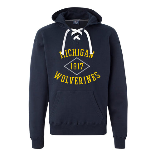 Michigan Stitch Arch Lace Up Hoodie - Navy