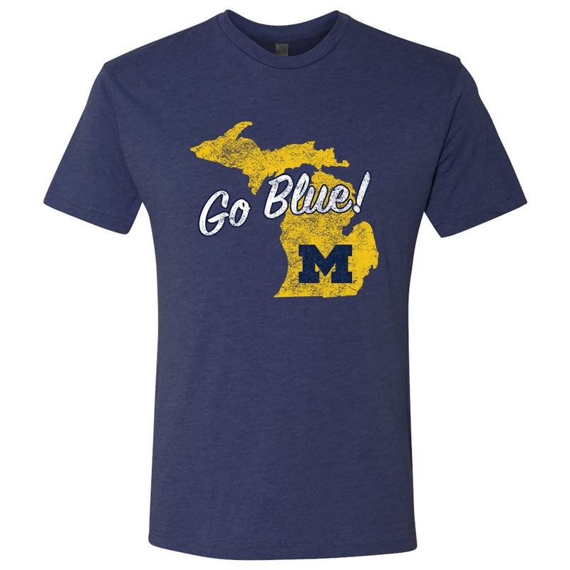Michigan Silhouette Go Blue University of Michigan Next Level Short Sleeve Triblend Tee - Vintage Navy