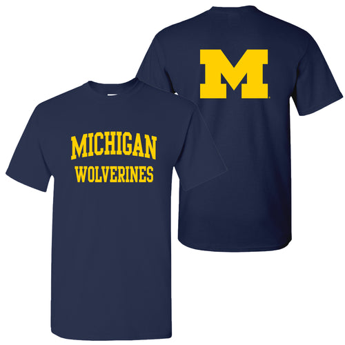 Front Back Print University of Michigan Basic Cotton Short Sleeve T Shirt - Navy