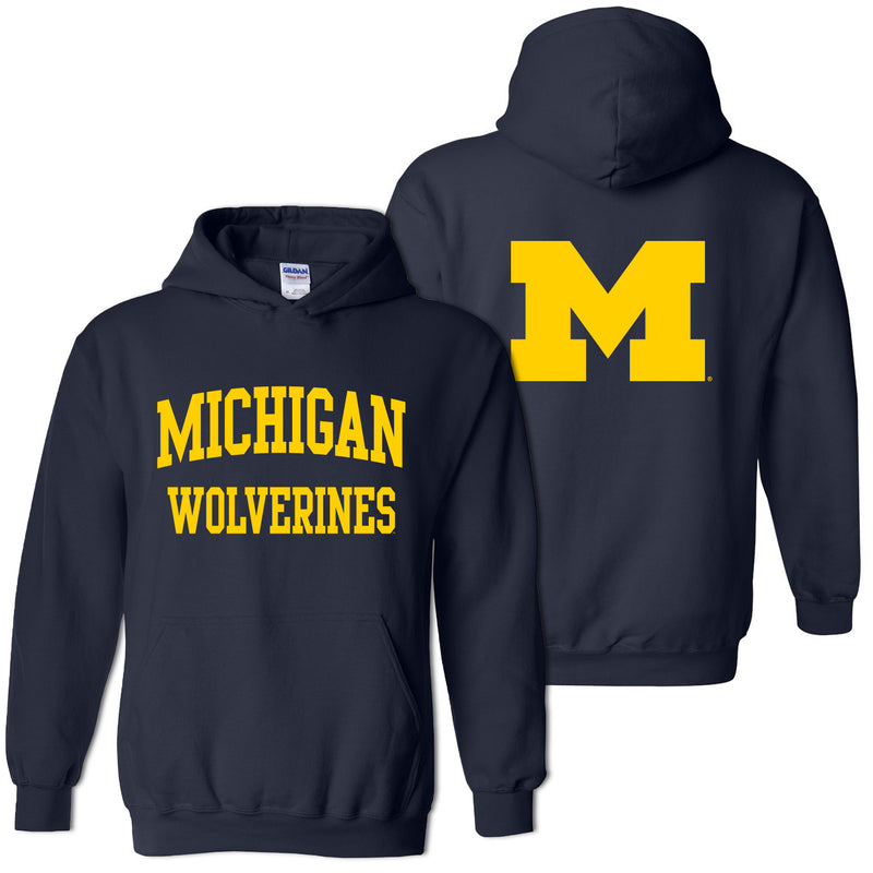Front Back Print University of Michigan Heavy Blend Hoodie - Navy
