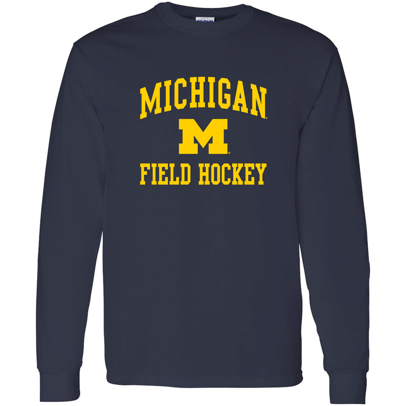 University of Michigan Wolverines Arch Logo Field Hockey Long Sleeve - Navy