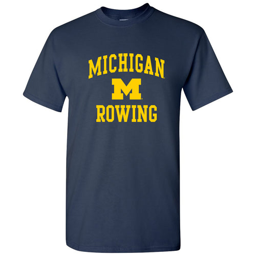 Arch Logo Rowing University of Michigan Basic Cotton Short Sleeve T Shirt - Navy