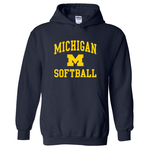 University of Michigan Wolverines Arch Logo Softball Hoodie - Navy
