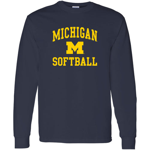 University of Michigan Wolverines Arch Logo Softball Long Sleeve - Navy