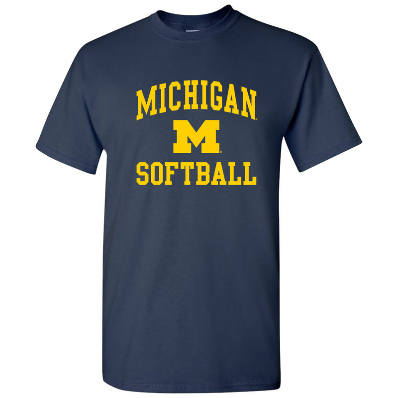 Arch Logo Softball University of Michigan Basic Cotton Short Sleeve T Shirt - Navy