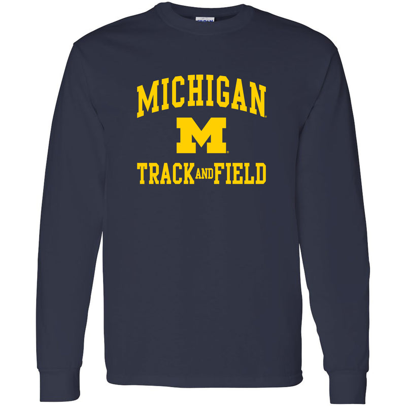 University of Michigan Wolverines Arch Logo Track & Field Long Sleeve - Navy