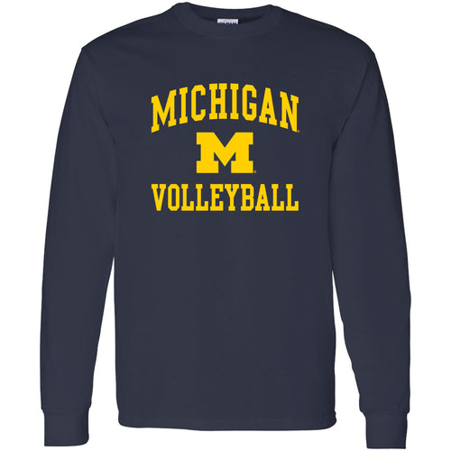 University of Michigan Wolverines Arch Logo Volleyball Long Sleeve - Navy