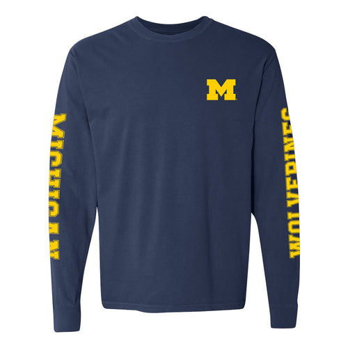 Double Sleeve University of Michigan Comfort Colors Long Sleeve T Shirt - True Navy