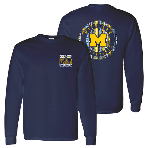Aztec Pattern Emblem University of Michigan Comfort Colors Ringspun Long Sleeve T Shirt - True Navy