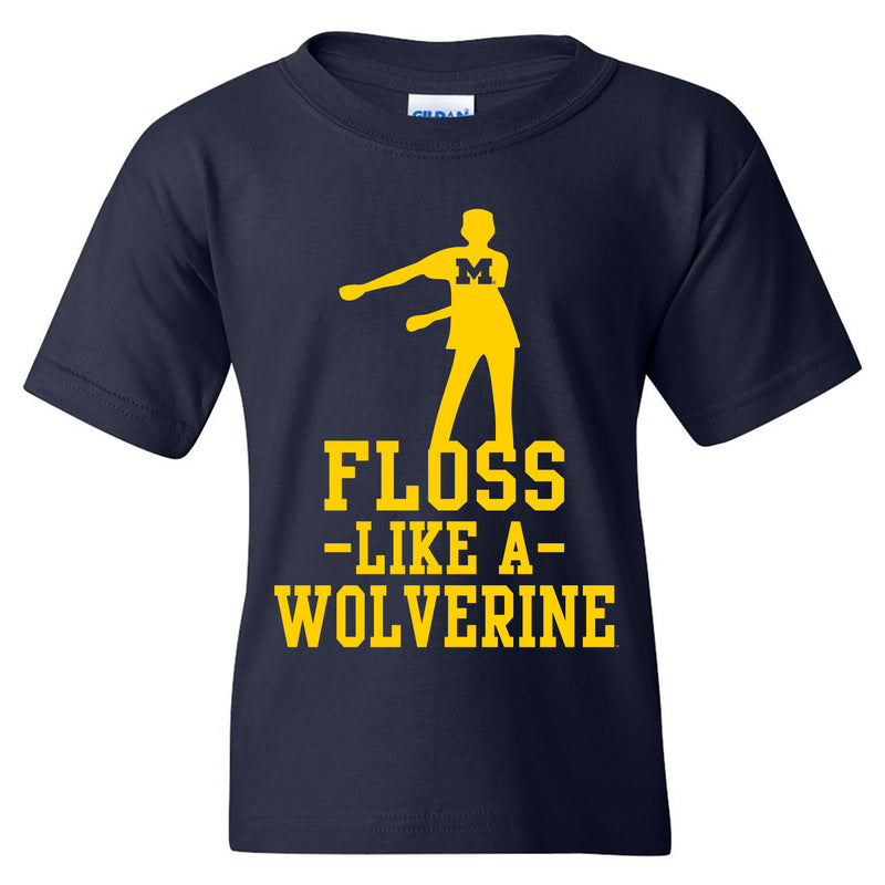 Floss Like a Wolverine University of Michigan Youth Basic Cotton Short Sleeve Tee - Navy