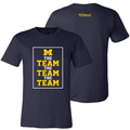 Bo Schembechler The Team The Team The Team University of Michigan Block M Banners Canvas Tee - Navy
