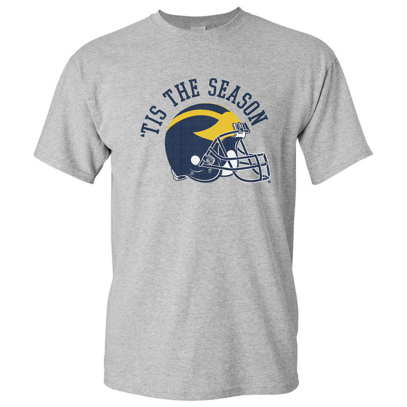 Tis The Season University of Michigan Basic Cotton Short Sleeve T Shirt - Sport Grey