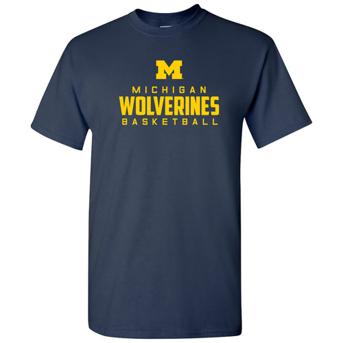 Michigan Mascot Wordmark Basketball Basic Cotton Short Sleeve T Shirt - Navy
