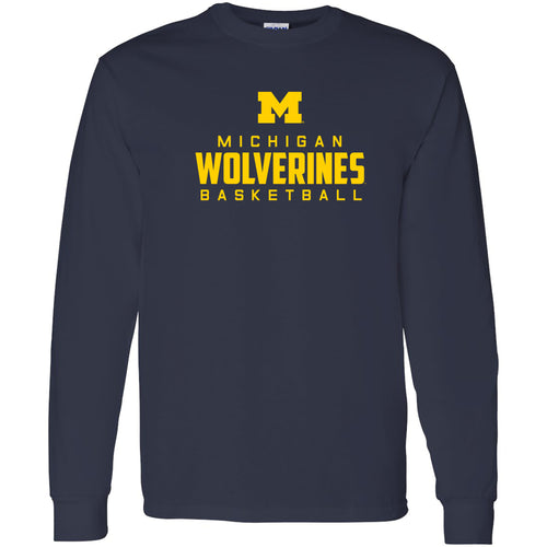 Michigan Mascot Wordmark Basketball Basic Cotton Long Sleeve T Shirt - Navy