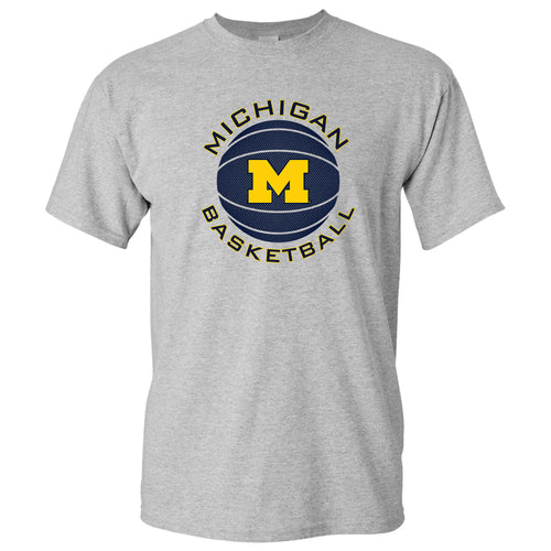 Michigan Basketball Circle Logo Basic Cotton Short Sleeve T Shirt - Sport Grey
