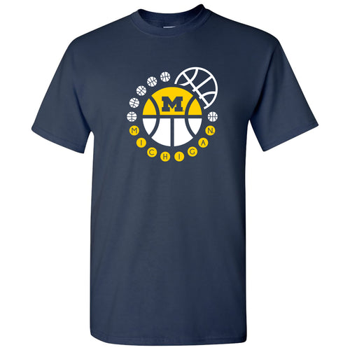Michigan Basketball Orbit T Shirt - Navy