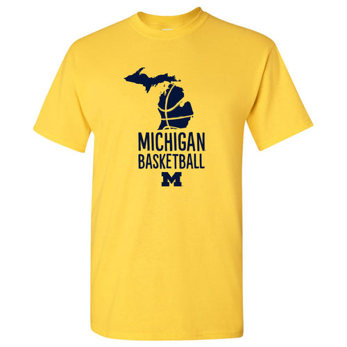 Basketball Brush State University of Michigan Basic Cotton Short Sleeve T Shirt - Maize