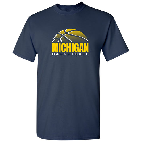 Basketball Shadow University of Michigan Basic Cotton Short Sleeve T Shirt - Navy