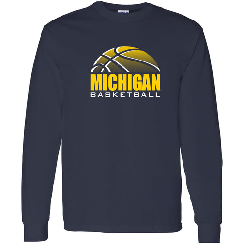 Michigan Basketball Shadow Long Sleeve - Navy