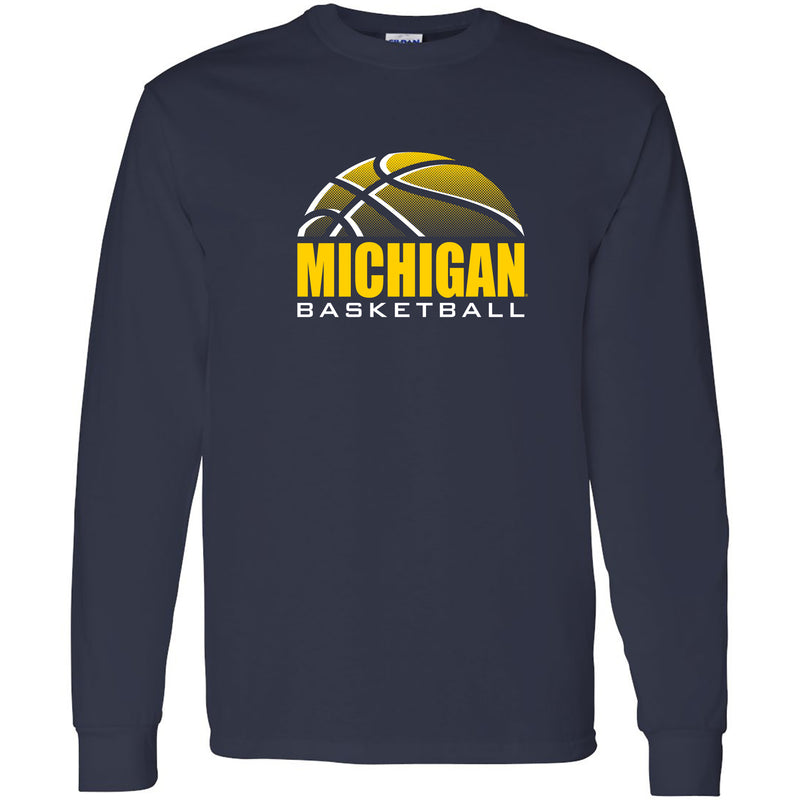 Basketball Shadow University of Michigan Basic Cotton Long Sleeve T Shirt- Navy