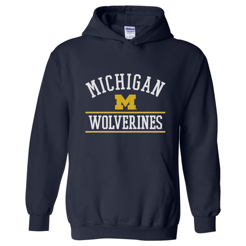 Mesh Arch University of Michigan Basic Cotton Hooded Sweatshirt - Navy