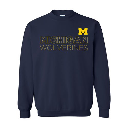 Modern Outline University of Michigan Heavy Blend Crewneck Sweatshirt - Navy