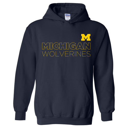 Modern Outline University of Michigan Heavy Blend Hooded Sweatshirt - Navy