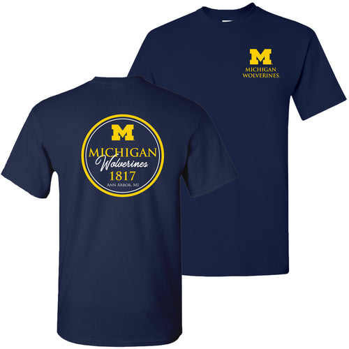 Michigan Classic Circle T Shirt - Navy