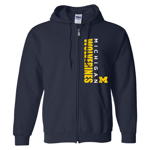 Vertical Block Left Chest University of Michigan Heavy Blend Zip Hoodie - Navy