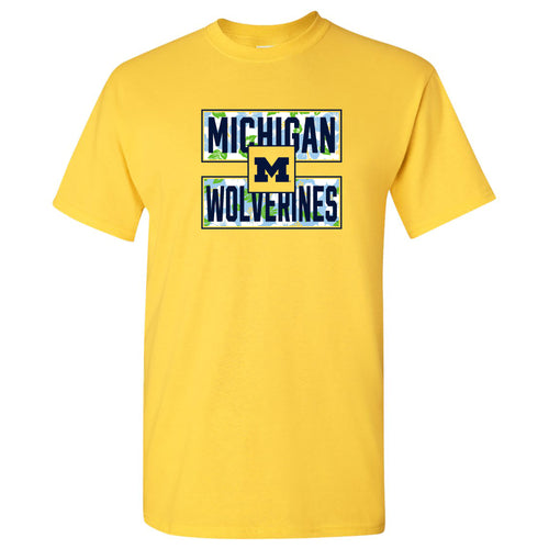 Hibiscus Pattern Blocks University of Michigan Basic Cotton Short Sleeve T Shirt - Daisy