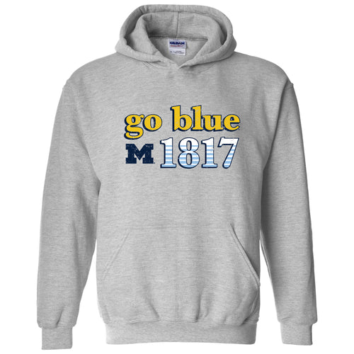 Throwback Year Stripe University of Michigan Heavy Blend Hoodie - Sport Grey