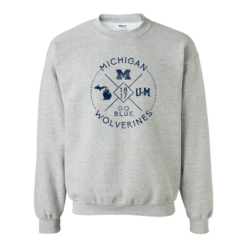 Identity Stamp University of Michigan Heavy Blend Crewneck - Sport Grey