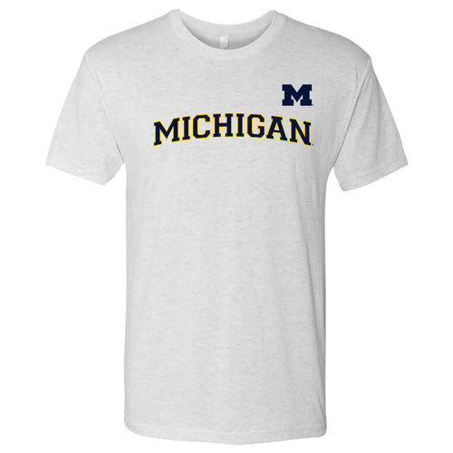 Baseball Jersey Print University of Michigan Next Level Triblend Short Sleeve T Shirt - Heather White