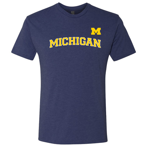 Baseball Jersey Print University of Michigan Next Level Triblend Short Sleeve T Shirt - Vintage Navy