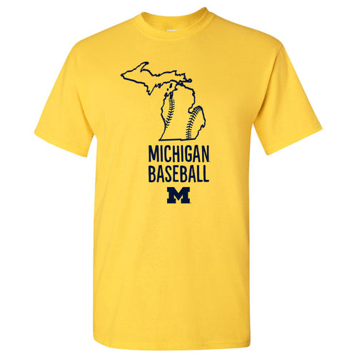Baseball Brush State University of Michigan Basic Cotton Short Sleeve T Shirt - Maize