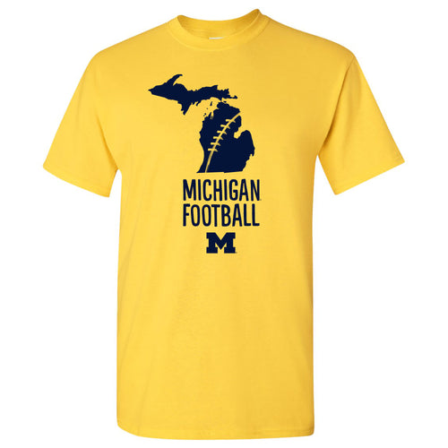 Football Brush State University of Michigan Wolverines Basic Cotton Short Sleeve T-Shirt - Daisy