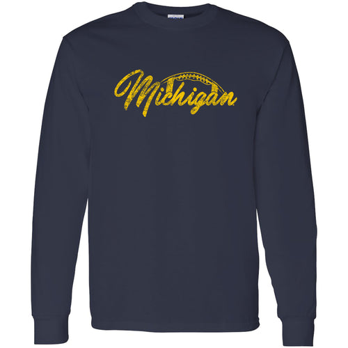 Football Script University of Michigan Basic Cotton Long Sleeve  T-Shirt - Navy
