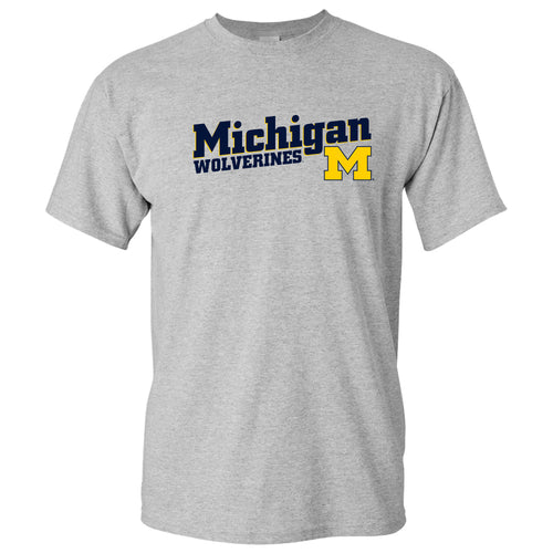 Incline Block Michigan Wolverines Basic Cotton Short Sleeve T-Shirt - Sport Grey