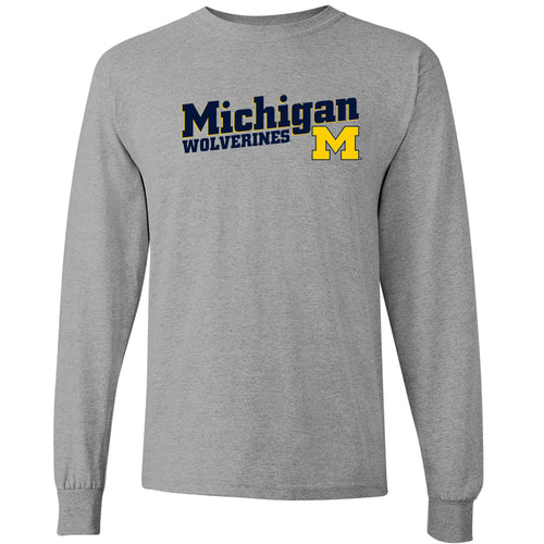 Incline Block Michigan Wolverines Basic Cotton Long Sleeve T-Shirt - Sport Grey