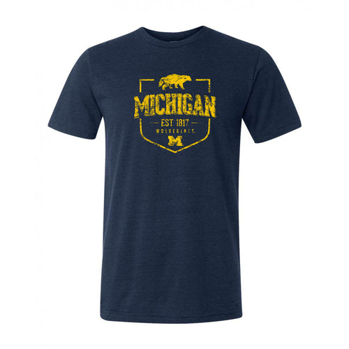 Timber Shield University of Michigan Canvas Short Sleeve Triblend T-Shirt - Solid Navy Triblend