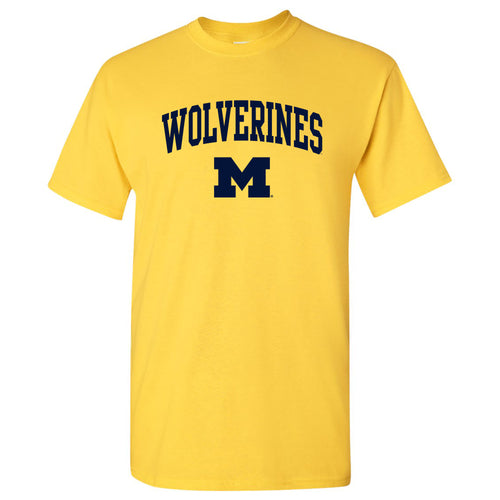 Mascot Arch Logo University of Michigan Basic Cotton Short Sleeve T Shirt - Maize