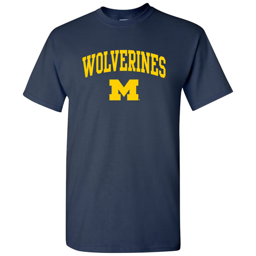 Michigan Mascot Arch Logo T Shirt - Navy