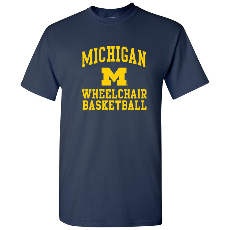 Arch Logo Wheelchair Basketball University of Michigan Basic Cotton Short Sleeve T Shirt - Navy