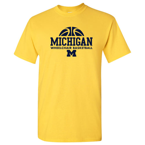 Wheelchair Basketball Hype University of Michigan Basic Cotton Short Sleeve T Shirt - Daisy