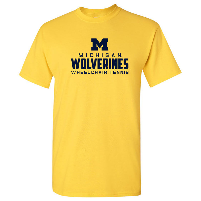 Mascot Wordmark Wheelchair Tennis University of Michigan Basic Cotton Short Sleeve T Shirt - Daisy