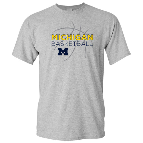 Basketball Sketch University of Michigan Basic Cotton Short Sleeve T Shirt - Sport Grey