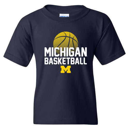 Basketball Flux Michigan Basic Cotton Youth Short Sleeve T Shirt - Navy