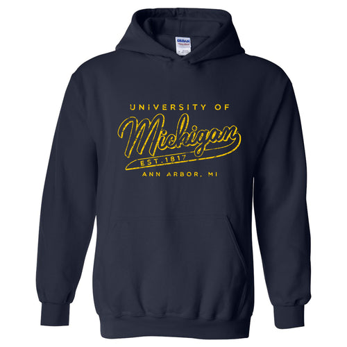 University of Michigan Road Trip Script Heavy Blend Hoodie - Navy
