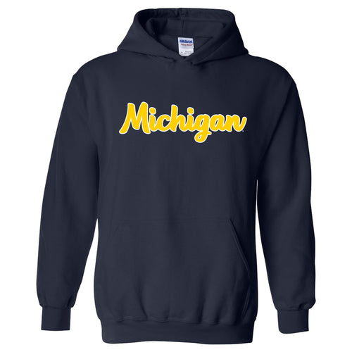 University of Michigan Wolverines Basic Script Heavy Blend Hoodie - Navy